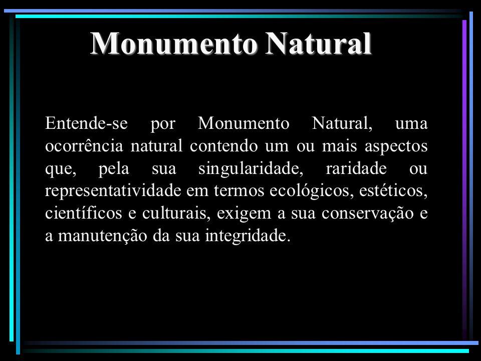 Monumento Natural Entende-se por Monumento Natural, uma ocorrência natural contendo um ou mais aspectos que, pela sua singularidade, raridade ou repre