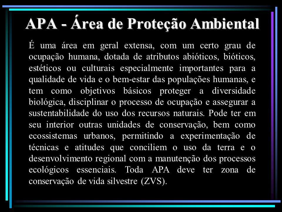 APA - Área de Proteção Ambiental É uma área em geral extensa, com um certo grau de ocupação humana, dotada de atributos abióticos, bióticos, estéticos