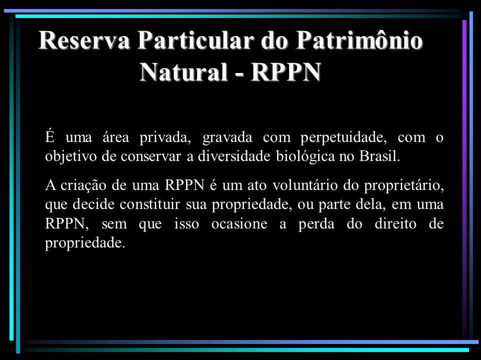 Reserva Particular do Patrimônio Natural - RPPN É uma área privada, gravada com perpetuidade, com o objetivo de conservar a diversidade biológica no B
