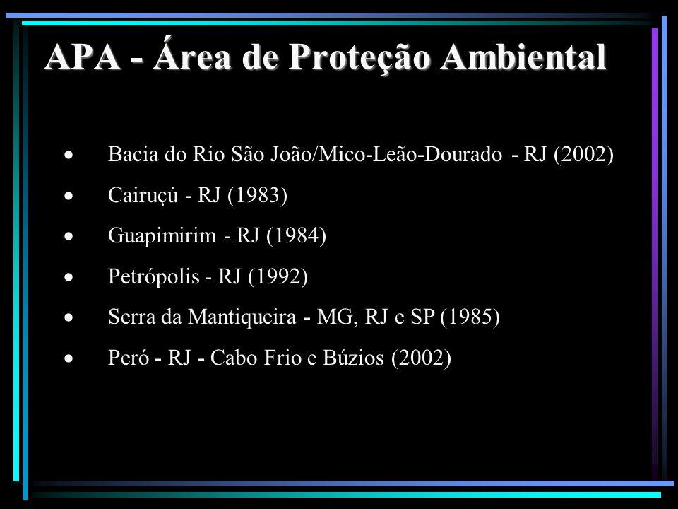 APA - Área de Proteção Ambiental Bacia do Rio São João/Mico-Leão-Dourado - RJ (2002) Cairuçú - RJ (1983) Guapimirim - RJ (1984) Petrópolis - RJ (1992)