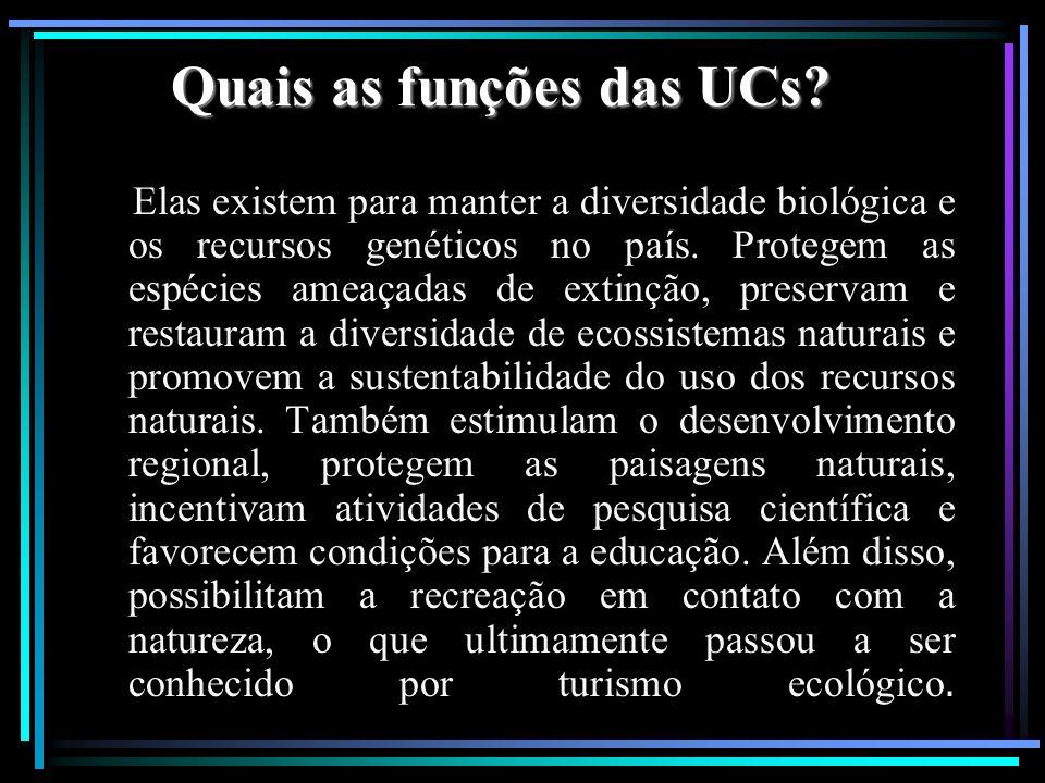 Quais as funções das UCs? Elas existem para manter a diversidade biológica e os recursos genéticos no país. Protegem as espécies ameaçadas de extinção