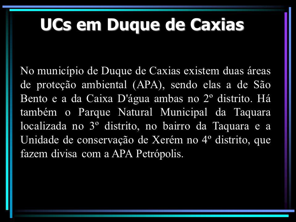 UCs em Duque de Caxias No município de Duque de Caxias existem duas áreas de proteção ambiental (APA), sendo elas a de São Bento e a da Caixa D'água a