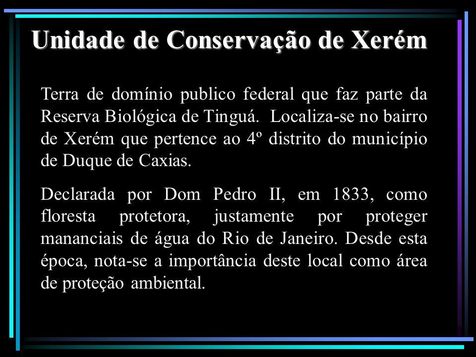 Unidade de Conservação de Xerém Terra de domínio publico federal que faz parte da Reserva Biológica de Tinguá. Localiza-se no bairro de Xerém que pert