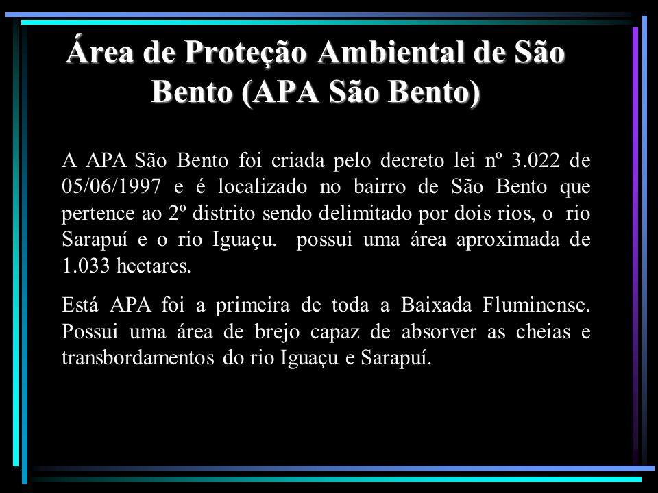 Área de Proteção Ambiental de São Bento (APA São Bento) A APA São Bento foi criada pelo decreto lei nº 3.022 de 05/06/1997 e é localizado no bairro de