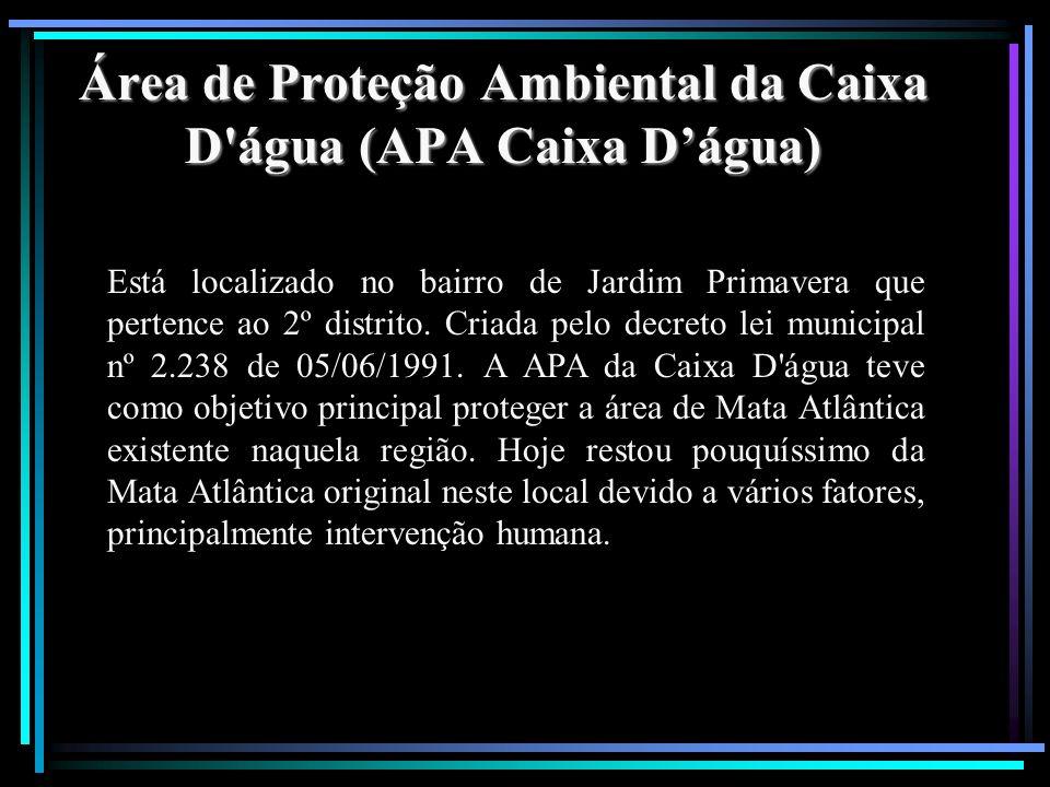Área de Proteção Ambiental da Caixa D'água (APA Caixa Dágua) Está localizado no bairro de Jardim Primavera que pertence ao 2º distrito. Criada pelo de