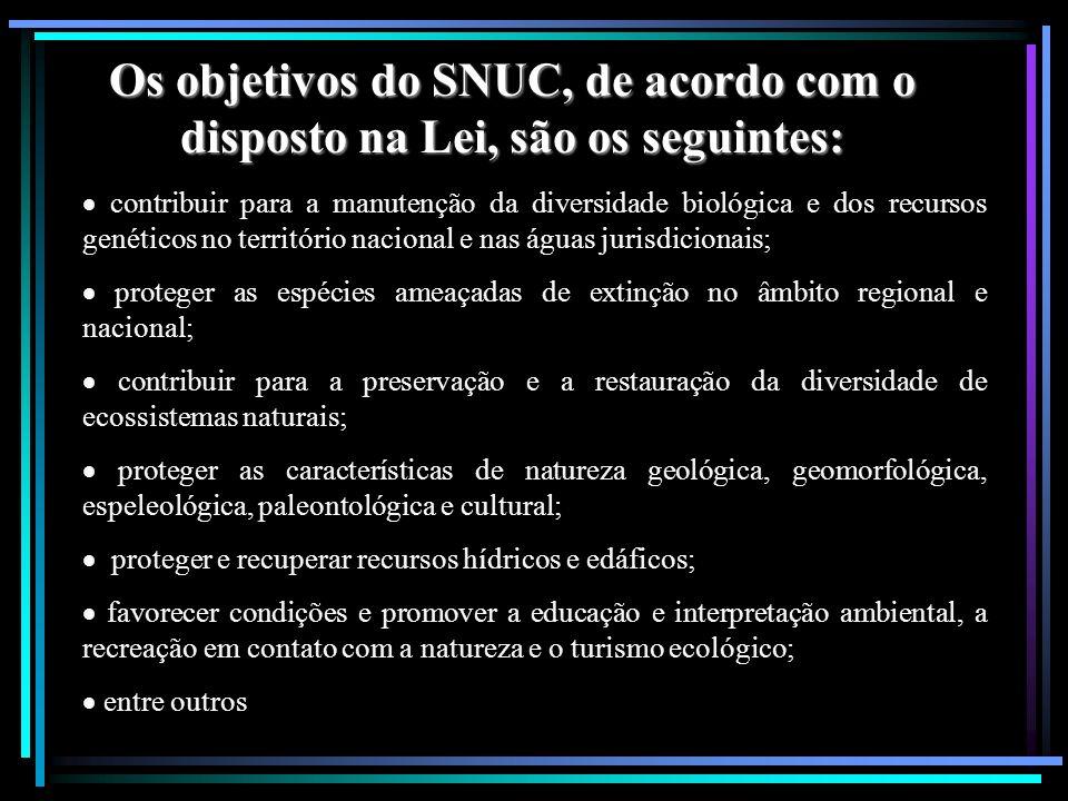 Os objetivos do SNUC, de acordo com o disposto na Lei, são os seguintes: contribuir para a manutenção da diversidade biológica e dos recursos genético