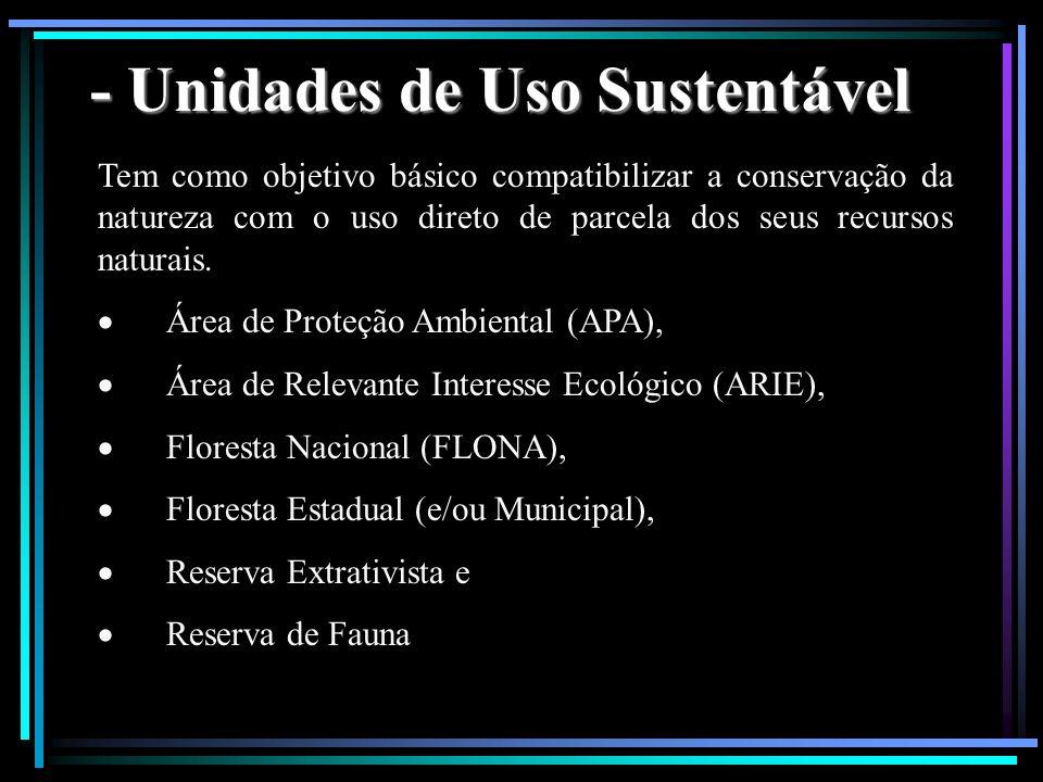 - Unidades de Uso Sustentável Tem como objetivo básico compatibilizar a conservação da natureza com o uso direto de parcela dos seus recursos naturais
