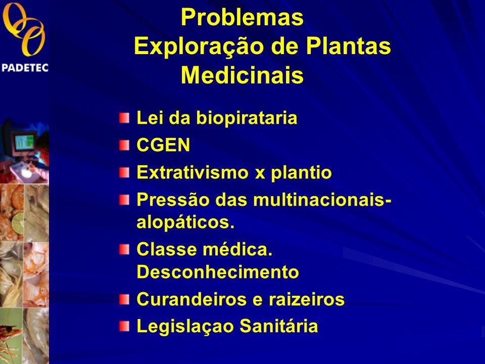 Problemas Exploração de Plantas Medicinais Lei da biopirataria CGEN Extrativismo x plantio Pressão das multinacionais- alopáticos.