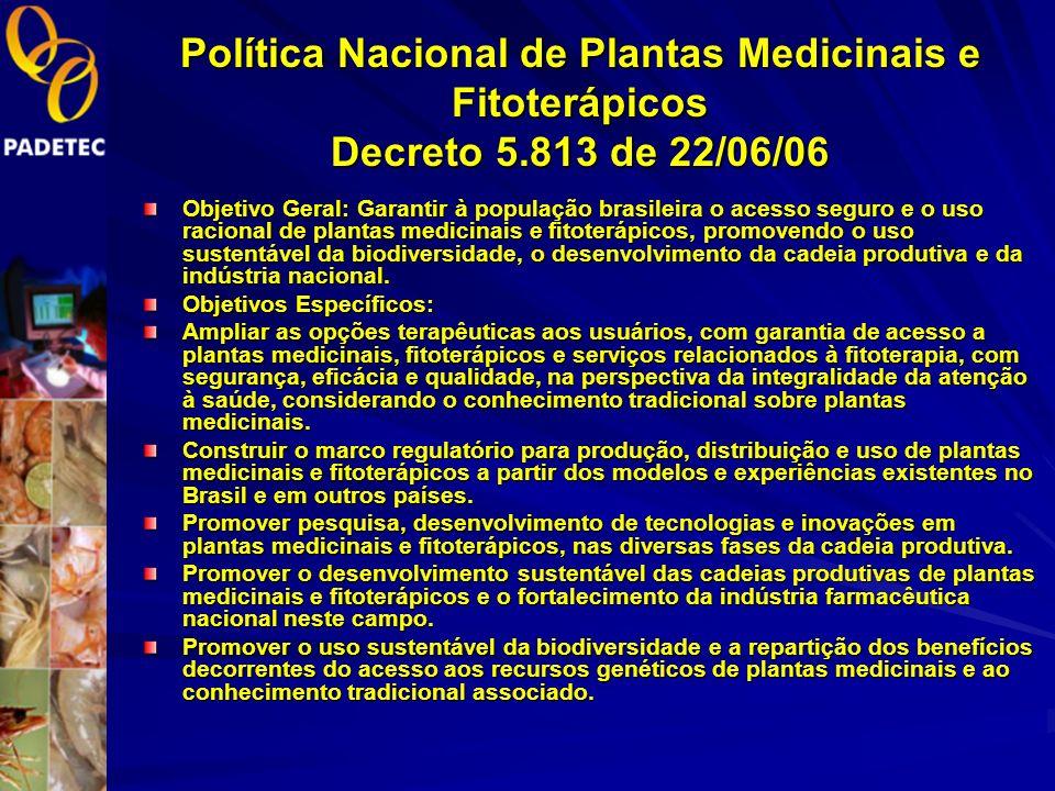 NOVAS POLÍTICAS GOVERNAMENTAIS LEI DA INOVAÇÃO TECNOLÓGICA. Política Nacional de Plantas Medicinais e Fitoterápicos - Decreto Presidencial Nº. 5.813,