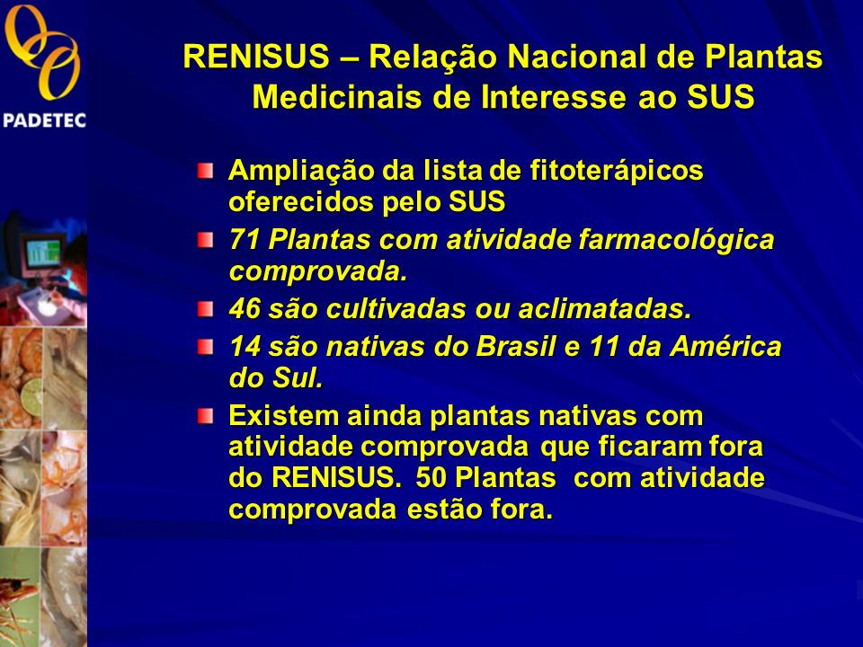 Política Nacional de Plantas Medicinais e Fitoterápicos Decreto 5.813 de 22/06/06 Objetivo Geral: Garantir à população brasileira o acesso seguro e o