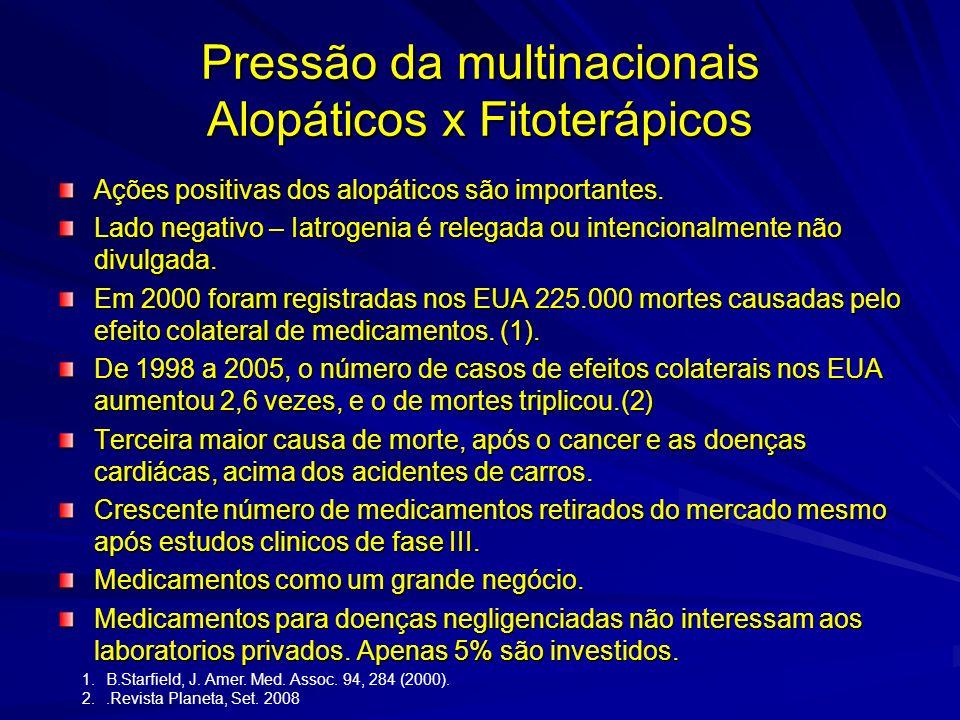 Pressão da multinacionais Alopáticos x Fitoterápicos Polemica Dr. Drauzio Varella Fitoterapia – Empirismo irresponsável. Quantos fitoterápicos se enco