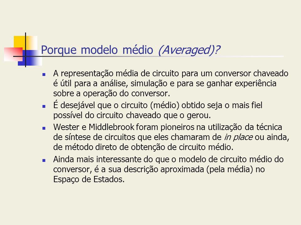 Porque modelo médio (Averaged)? A representação média de circuito para um conversor chaveado é útil para a análise, simulação e para se ganhar experiê