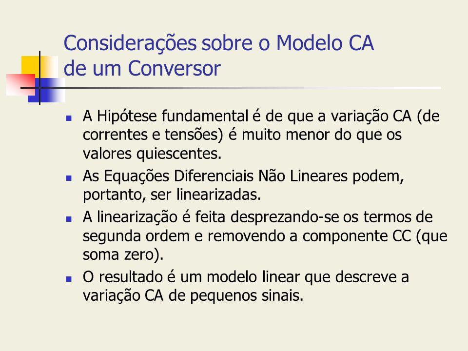 Considerações sobre o Modelo CA de um Conversor A Hipótese fundamental é de que a variação CA (de correntes e tensões) é muito menor do que os valores
