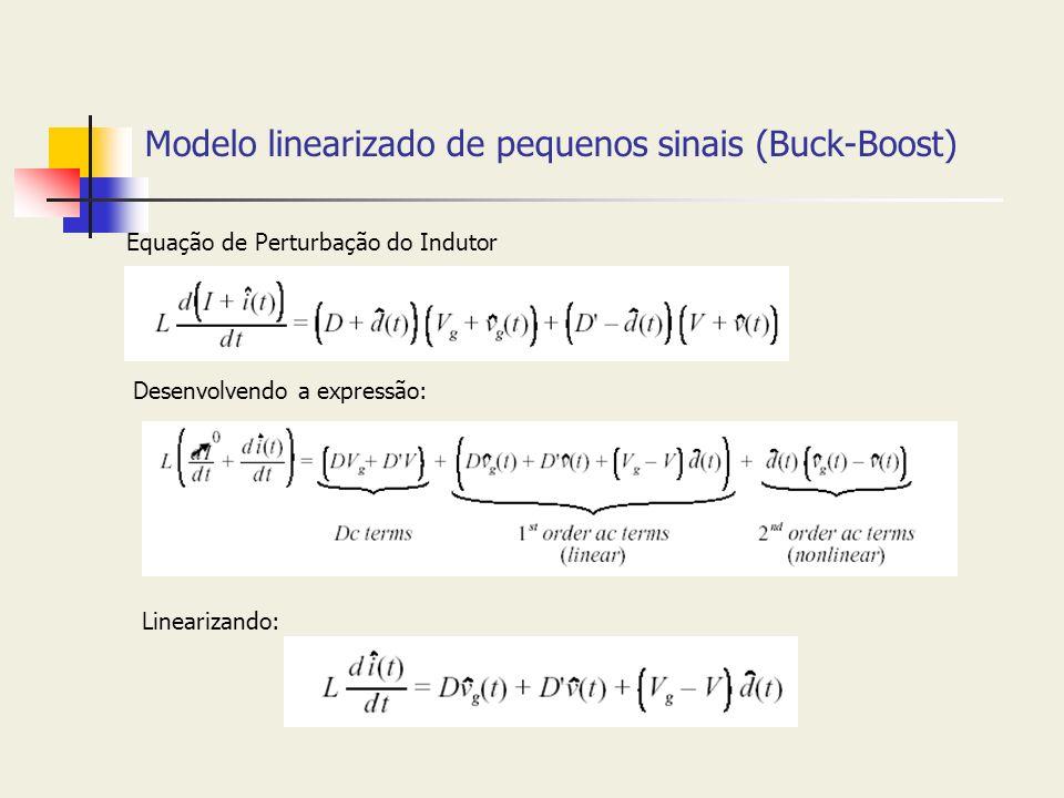 Modelo linearizado de pequenos sinais (Buck-Boost) Equação de Perturbação do Indutor Desenvolvendo a expressão: Linearizando: