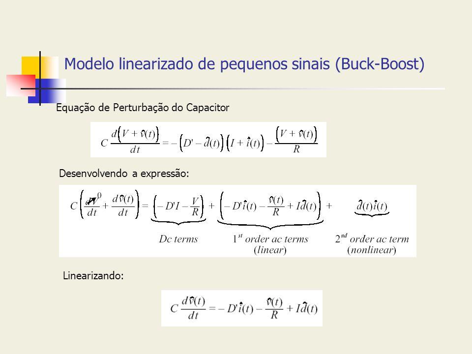 Modelo linearizado de pequenos sinais (Buck-Boost) Equação de Perturbação do Capacitor Desenvolvendo a expressão: Linearizando: