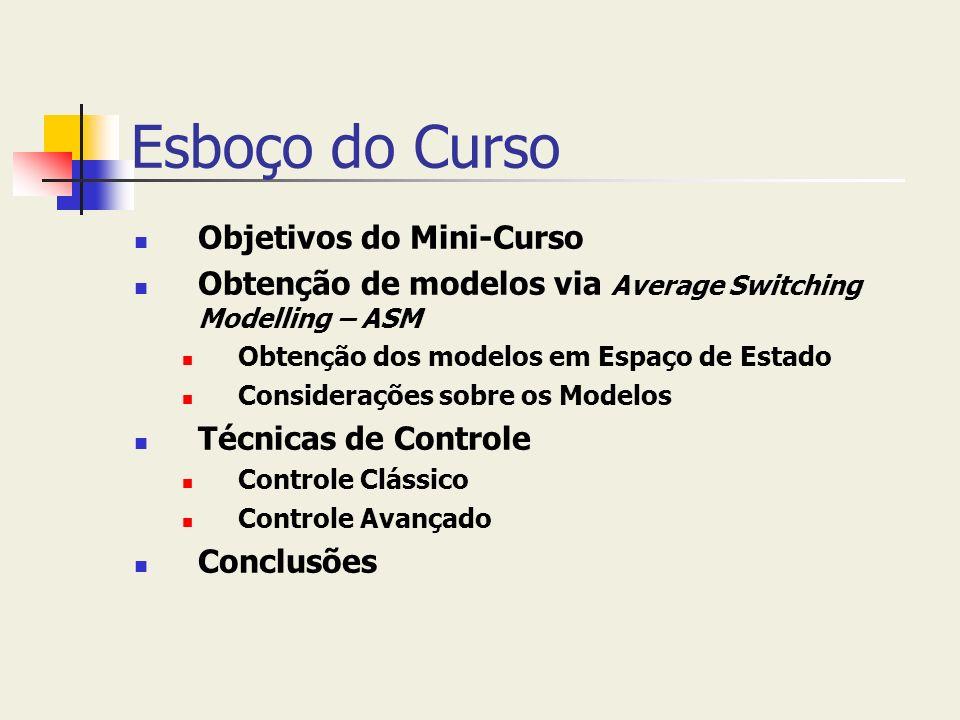 Esboço do Curso Objetivos do Mini-Curso Obtenção de modelos via Average Switching Modelling – ASM Obtenção dos modelos em Espaço de Estado Consideraçõ