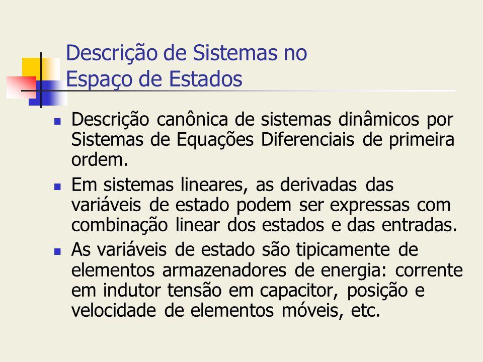 Descrição de Sistemas no Espaço de Estados Descrição canônica de sistemas dinâmicos por Sistemas de Equações Diferenciais de primeira ordem. Em sistem