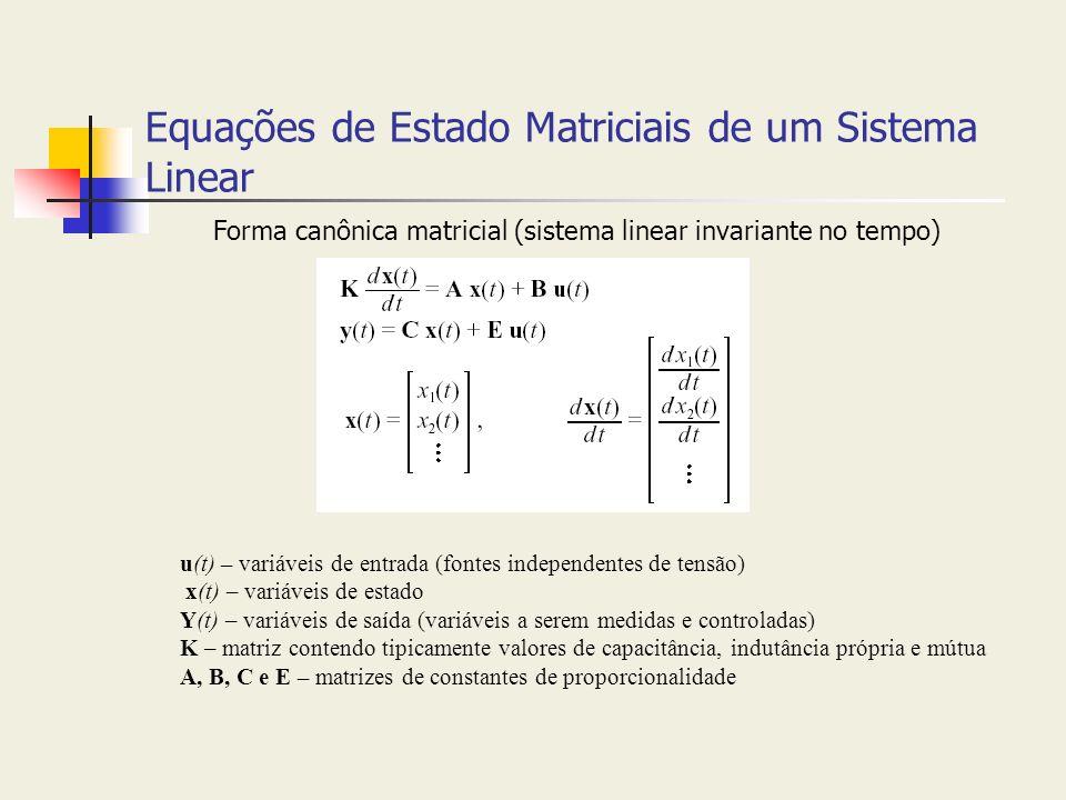 Equações de Estado Matriciais de um Sistema Linear Forma canônica matricial (sistema linear invariante no tempo) u(t) – variáveis de entrada (fontes i