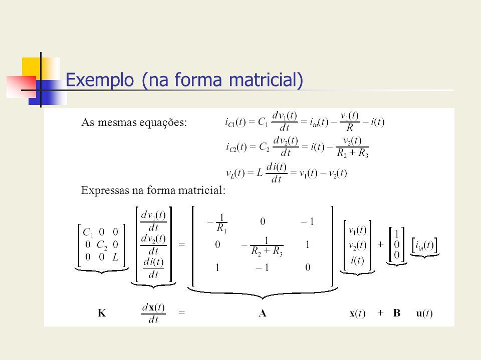 Exemplo (na forma matricial) As mesmas equações: Expressas na forma matricial: