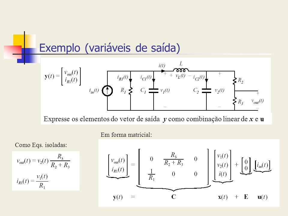 Exemplo (variáveis de saída) Expresse os elementos do vetor de saída y como combinação linear de x e u Como Eqs. isoladas: Em forma matricial: