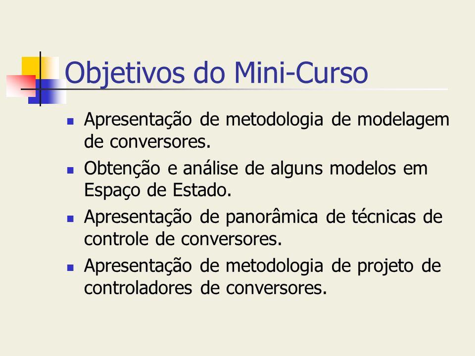 Objetivos do Mini-Curso Apresentação de metodologia de modelagem de conversores. Obtenção e análise de alguns modelos em Espaço de Estado. Apresentaçã