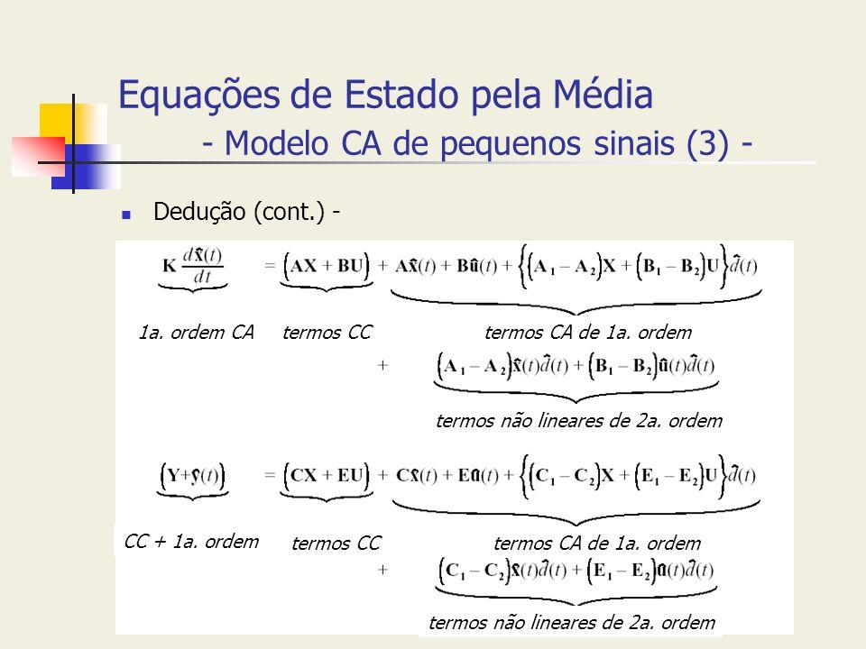 Equações de Estado pela Média - Modelo CA de pequenos sinais (3) - Dedução (cont.) - 1a. ordem CAtermos CCtermos CA de 1a. ordem termos não lineares d