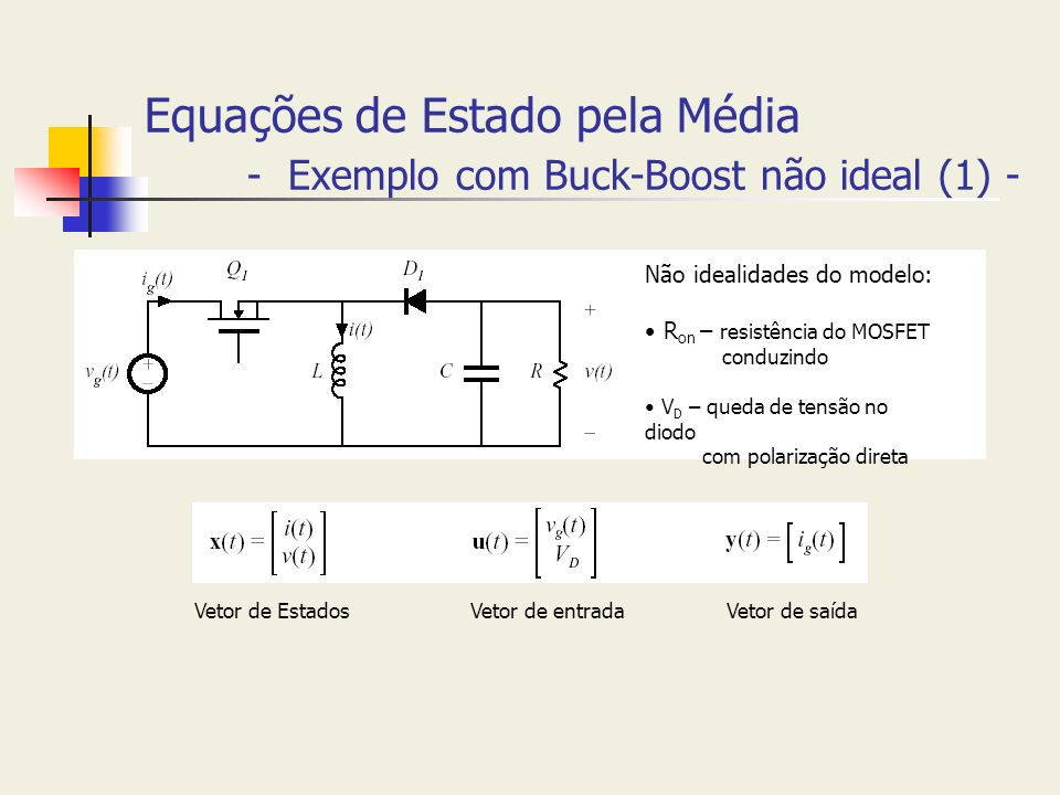 Equações de Estado pela Média - Exemplo com Buck-Boost não ideal (1) - Não idealidades do modelo: R on – resistência do MOSFET conduzindo V D – queda