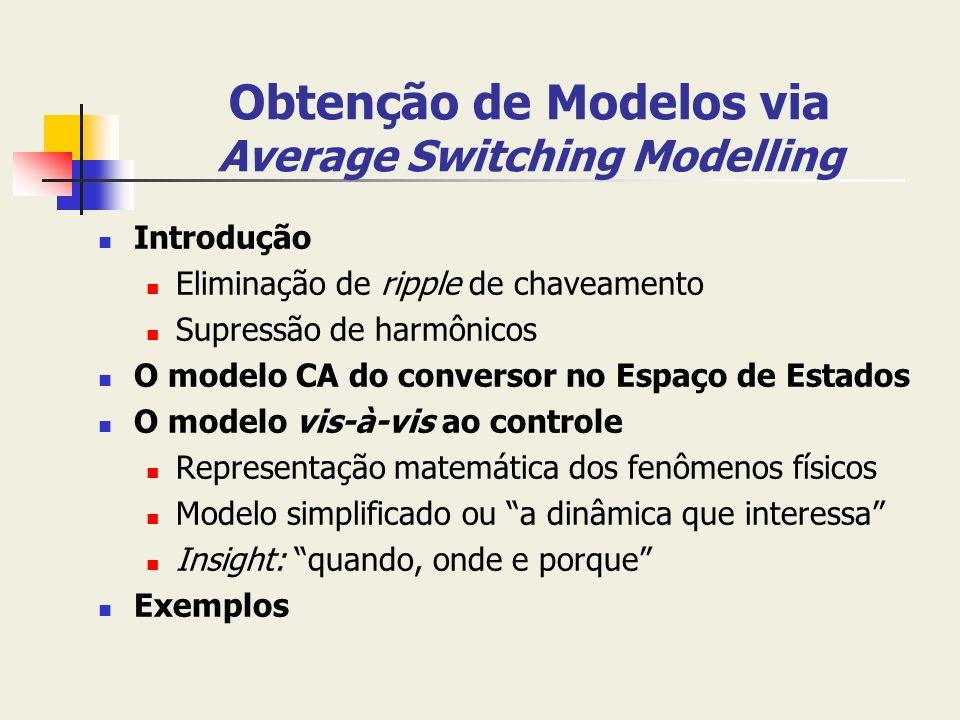 Obtenção de Modelos via Average Switching Modelling Introdução Eliminação de ripple de chaveamento Supressão de harmônicos O modelo CA do conversor no