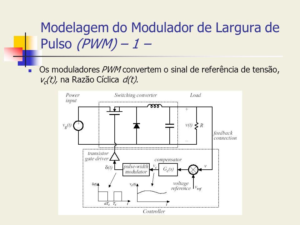 Modelagem do Modulador de Largura de Pulso (PWM) – 1 – Os moduladores PWM convertem o sinal de referência de tensão, v c (t), na Razão Cíclica d(t).