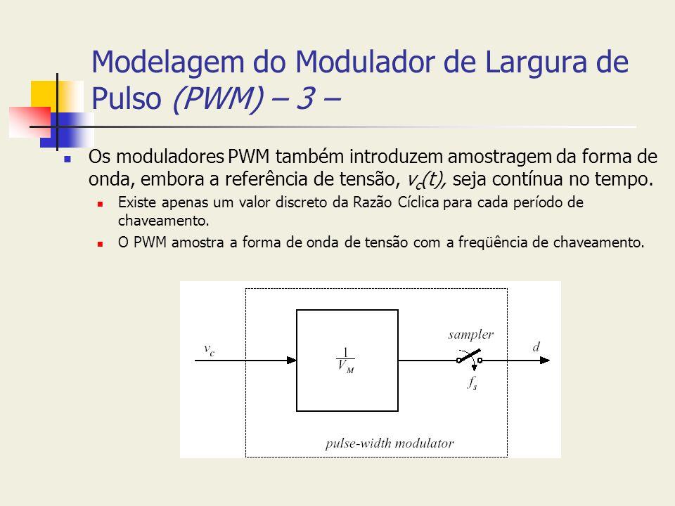 Modelagem do Modulador de Largura de Pulso (PWM) – 3 – Os moduladores PWM também introduzem amostragem da forma de onda, embora a referência de tensão