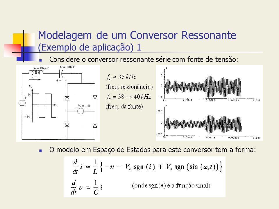 Modelagem de um Conversor Ressonante (Exemplo de aplicação) 1 Considere o conversor ressonante série com fonte de tensão: O modelo em Espaço de Estado