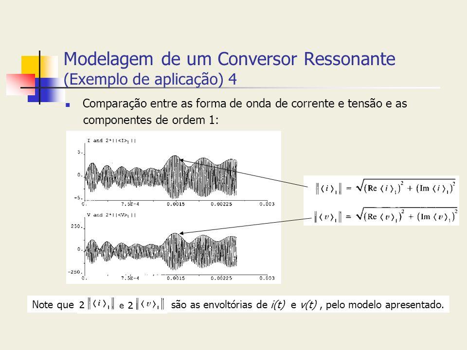 Modelagem de um Conversor Ressonante (Exemplo de aplicação) 4 Comparação entre as forma de onda de corrente e tensão e as componentes de ordem 1: Note