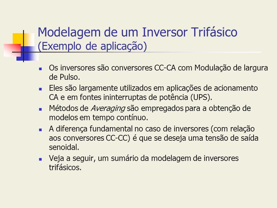 Modelagem de um Inversor Trifásico (Exemplo de aplicação) Os inversores são conversores CC-CA com Modulação de largura de Pulso. Eles são largamente u