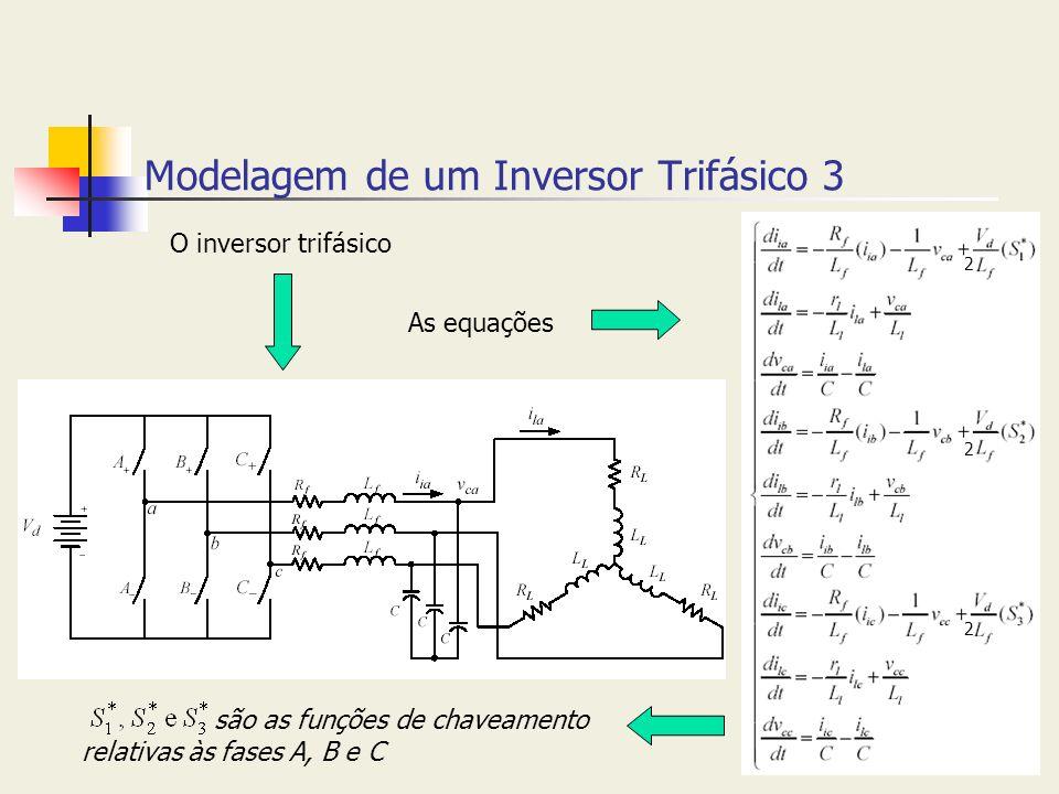 Modelagem de um Inversor Trifásico 3 O inversor trifásico As equações são as funções de chaveamento relativas às fases A, B e C 2 2 2