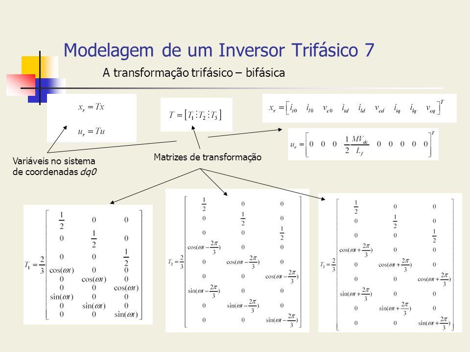 Modelagem de um Inversor Trifásico 7 A transformação trifásico – bifásica Variáveis no sistema de coordenadas dq0 Matrizes de transformação