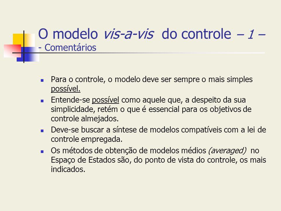 O modelo vis-a-vis do controle – 1 – - Comentários Para o controle, o modelo deve ser sempre o mais simples possível. Entende-se possível como aquele