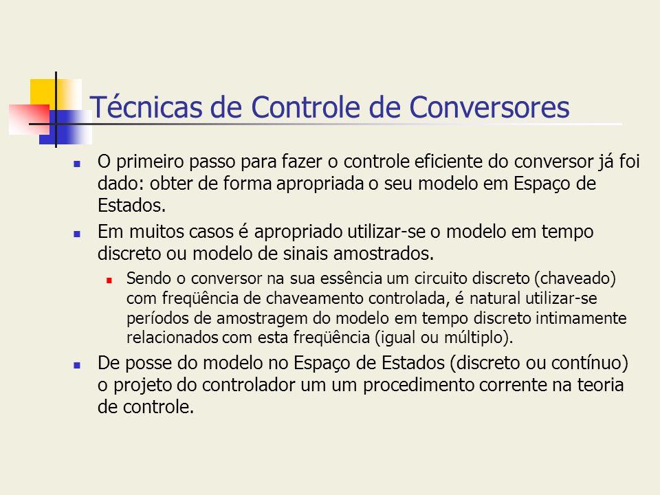 Técnicas de Controle de Conversores O primeiro passo para fazer o controle eficiente do conversor já foi dado: obter de forma apropriada o seu modelo