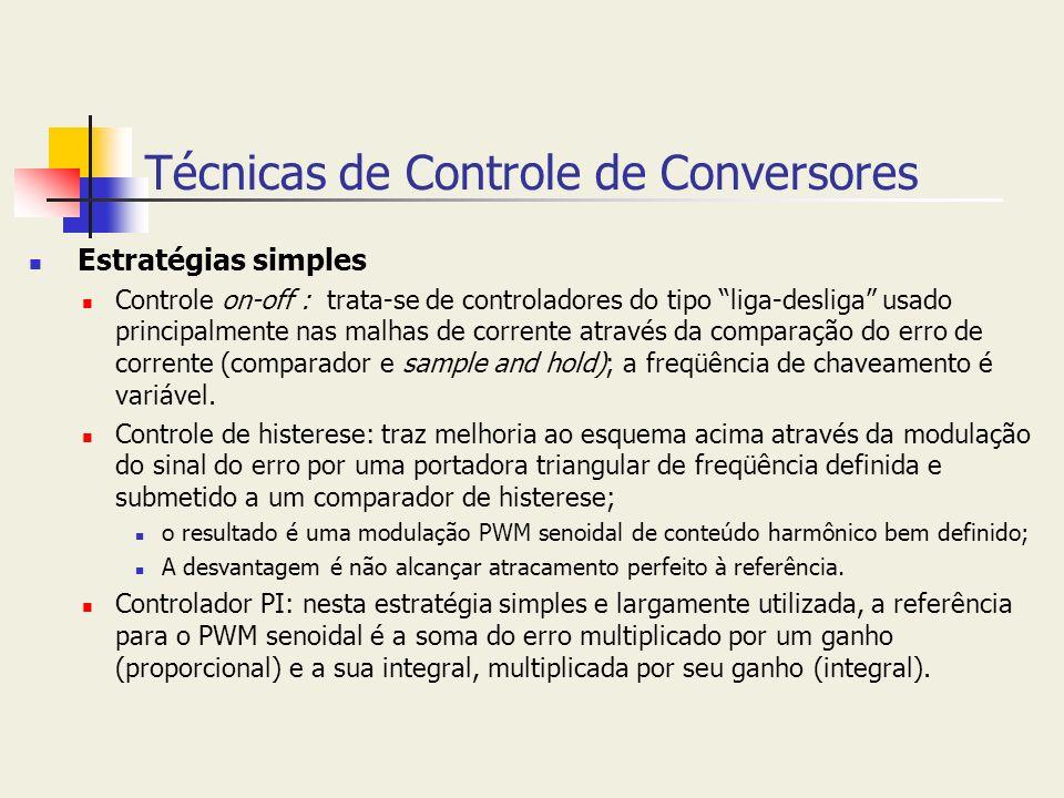 Técnicas de Controle de Conversores Estratégias simples Controle on-off : trata-se de controladores do tipo liga-desliga usado principalmente nas malh
