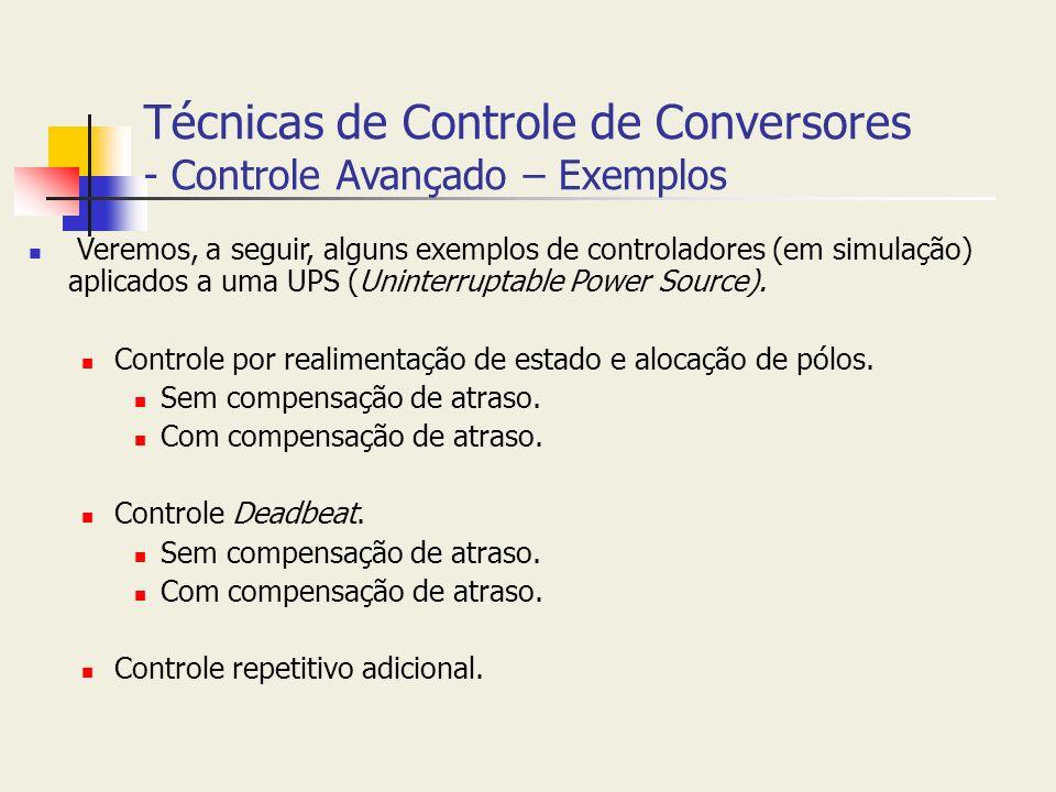Técnicas de Controle de Conversores - Controle Avançado – Exemplos Veremos, a seguir, alguns exemplos de controladores (em simulação) aplicados a uma