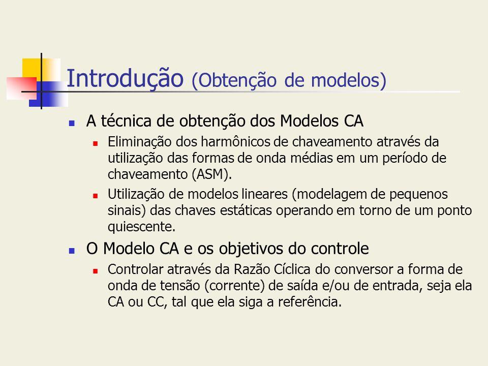 Introdução (Obtenção de modelos) A técnica de obtenção dos Modelos CA Eliminação dos harmônicos de chaveamento através da utilização das formas de ond