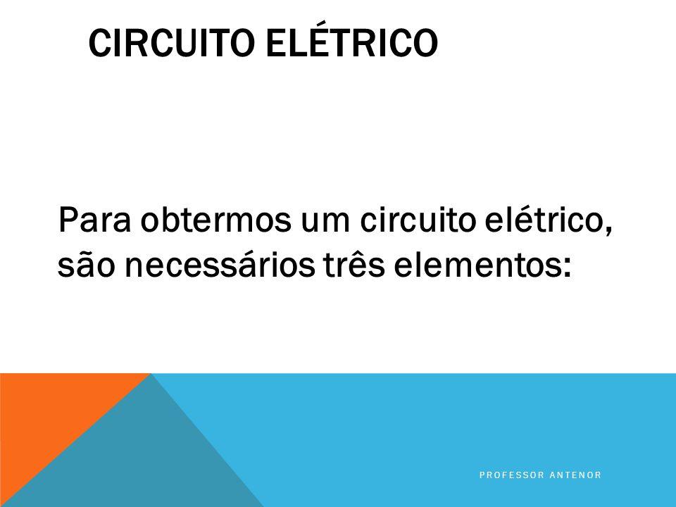 COMO OBTER UMA CORRENTE ELÉTRICA? Para obtermos uma corrente elétrica precisamos de um circuito elétrico PROFESSOR ANTENOR