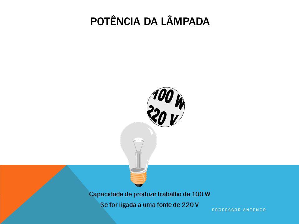 POTÊNCIA DA LÂMPADA Capacidade de produzir trabalho de 100 W Se for ligada a uma fonte de 127 V PROFESSOR ANTENOR