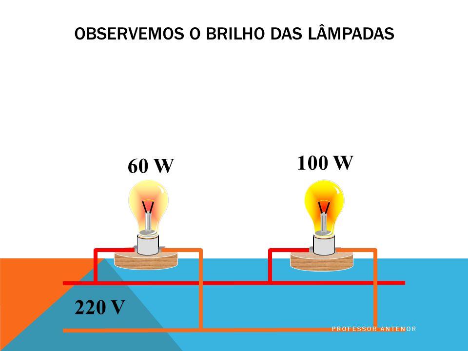 POTÊNCIA DA LÂMPADA Capacidade de produzir trabalho de 100 W Se for ligada a uma fonte de 220 V PROFESSOR ANTENOR