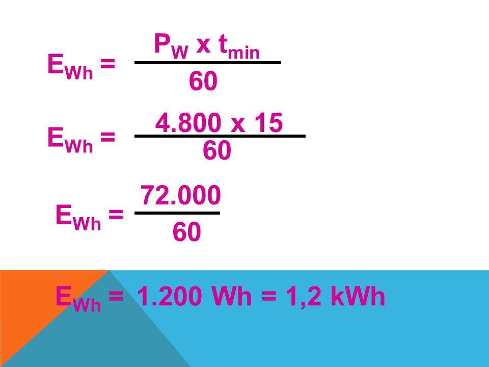Uma pessoa demora 15 min em média para tomar banho, num chuveiro de potência de 4800W. Qual o consumo de energia elétrica?