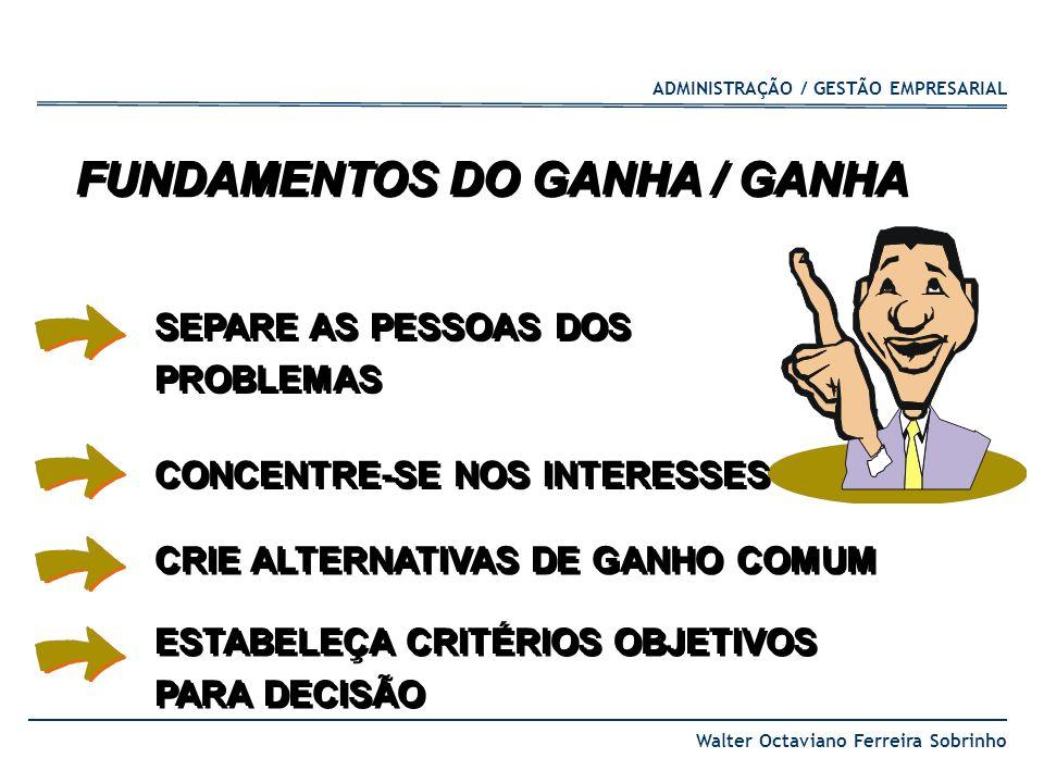 ADMINISTRAÇÃO / GESTÃO EMPRESARIAL Walter Octaviano Ferreira Sobrinho SEPARE AS PESSOAS DOS PROBLEMAS SEPARE AS PESSOAS DOS PROBLEMAS CONCENTRE-SE NOS