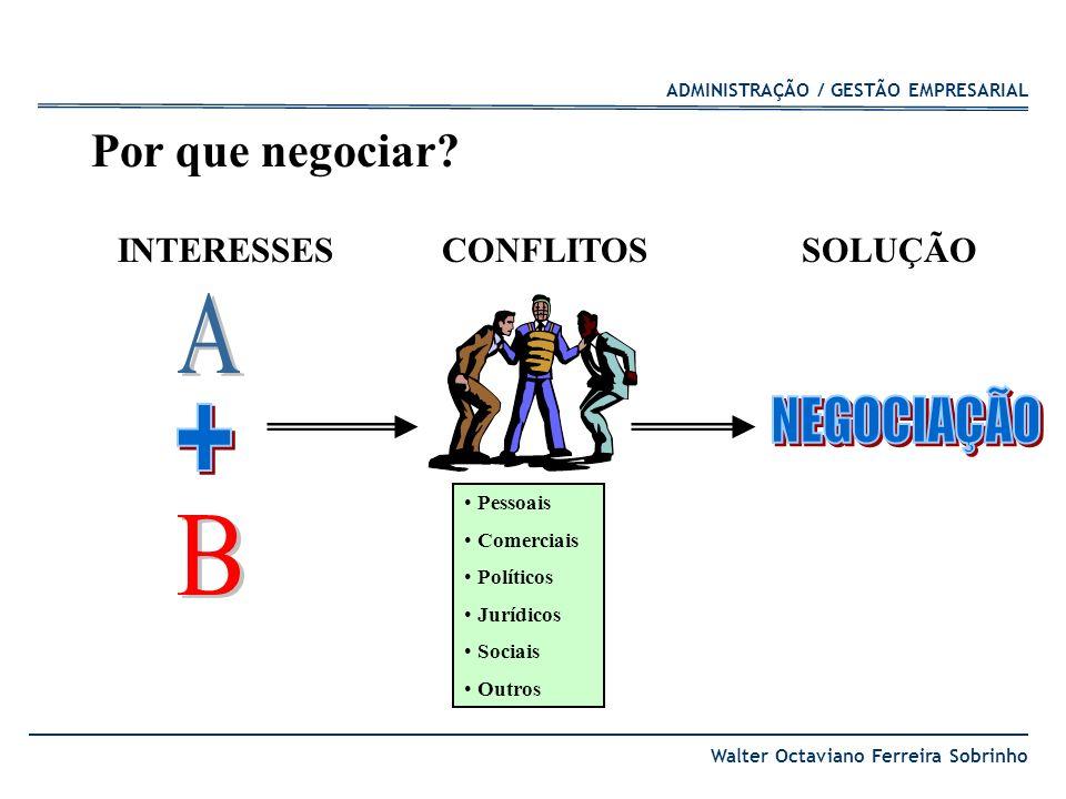 ADMINISTRAÇÃO / GESTÃO EMPRESARIAL Walter Octaviano Ferreira Sobrinho Por que negociar? Pessoais Comerciais Políticos Jurídicos Sociais Outros CONFLIT