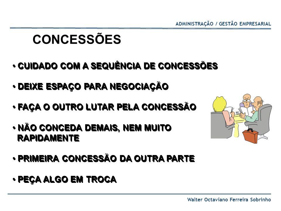 ADMINISTRAÇÃO / GESTÃO EMPRESARIAL Walter Octaviano Ferreira Sobrinho CUIDADO COM A SEQUÊNCIA DE CONCESSÕES DEIXE ESPAÇO PARA NEGOCIAÇÃO FAÇA O OUTRO