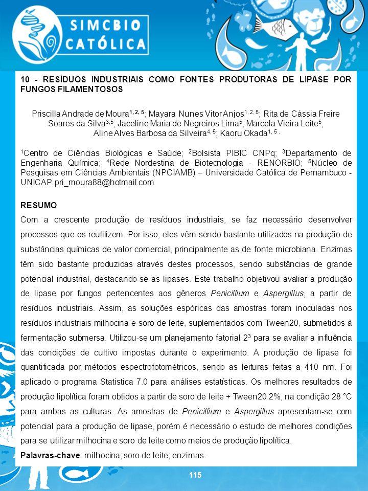 115 10 - RESÍDUOS INDUSTRIAIS COMO FONTES PRODUTORAS DE LIPASE POR FUNGOS FILAMENTOSOS Priscilla Andrade de Moura 1, 2, 5 ; Mayara Nunes Vitor Anjos 1