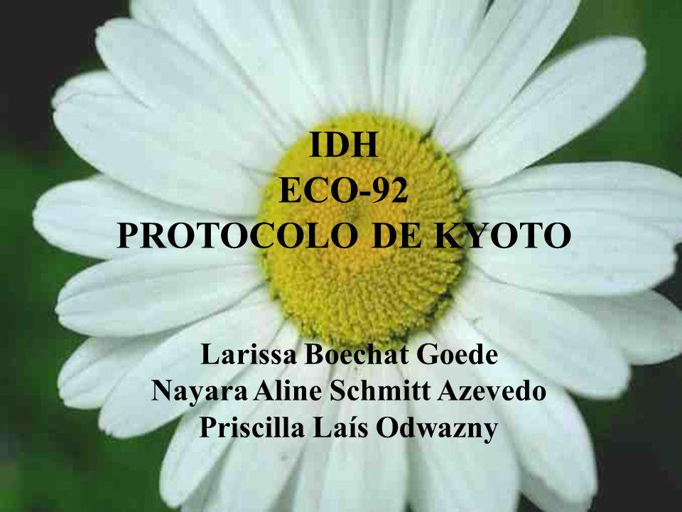 IDH ECO-92 PROTOCOLO DE KYOTO Larissa Boechat Goede Nayara Aline Schmitt Azevedo Priscilla Laís Odwazny