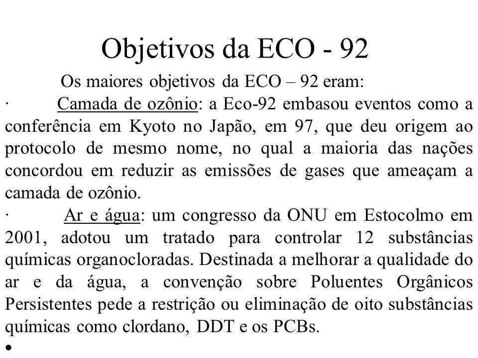 Objetivos da ECO - 92 Os maiores objetivos da ECO – 92 eram: · Camada de ozônio: a Eco-92 embasou eventos como a conferência em Kyoto no Japão, em 97, que deu origem ao protocolo de mesmo nome, no qual a maioria das nações concordou em reduzir as emissões de gases que ameaçam a camada de ozônio.